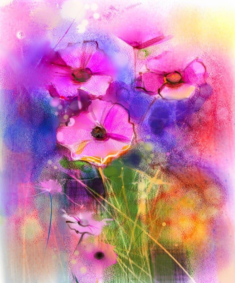 Aquarela que pinta a flor cor-de-rosa do cosmos ilustração do vetor