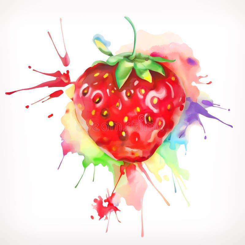 Aquarela que pinta morangos maduras ilustração royalty free