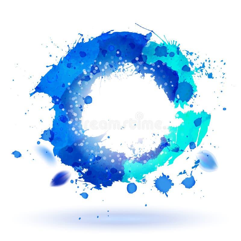 A aquarela que tira o símbolo azul da curva com espirra ilustração stock