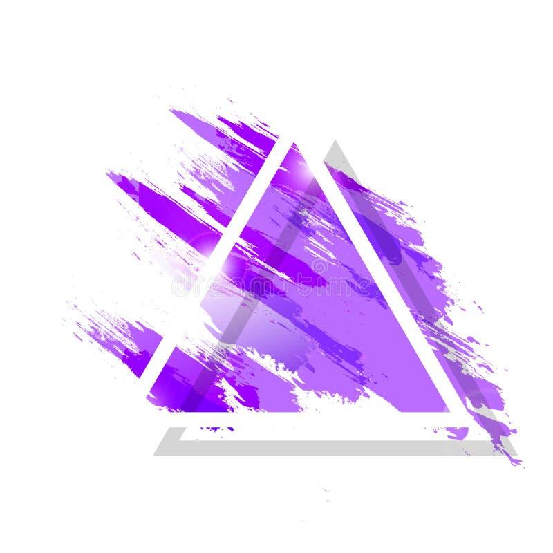 A aquarela, respingo líquido com quadro do triângulo da escova do grunge chapinha a ilustração abstrata artística do vetor do fun ilustração stock