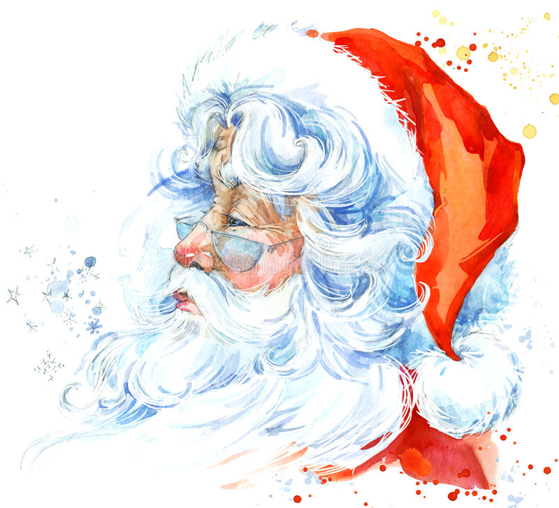 Aquarela Santa Claus Santa Claus Christmas Background Fundo do ano novo ilustração stock