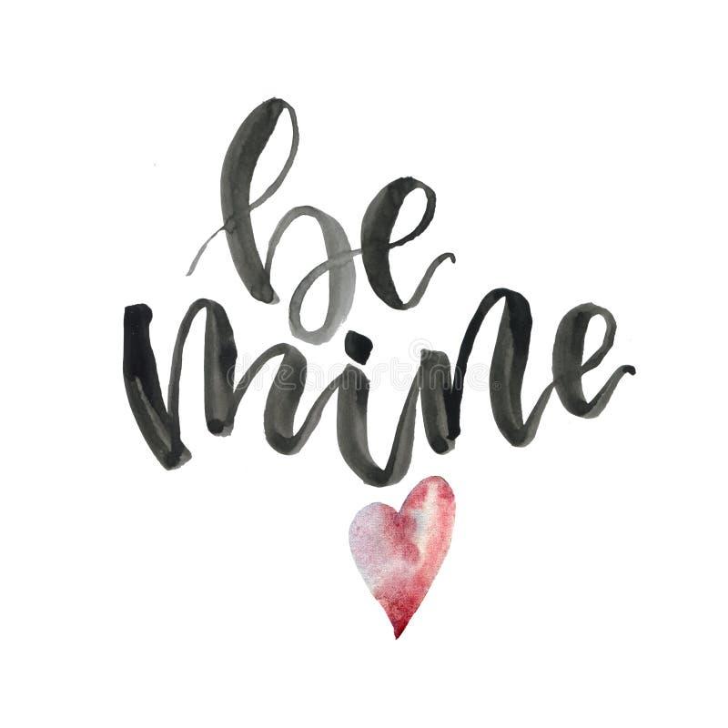 A aquarela seja cartão da mina Conceito pintado à mão do dia de Valentim com rotulação e coração isolado no fundo branco ilustração royalty free