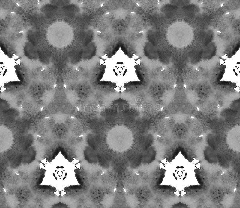 Aquarela sem emenda do teste padrão do caleidoscópio de Duotone preto e branco ilustração do vetor