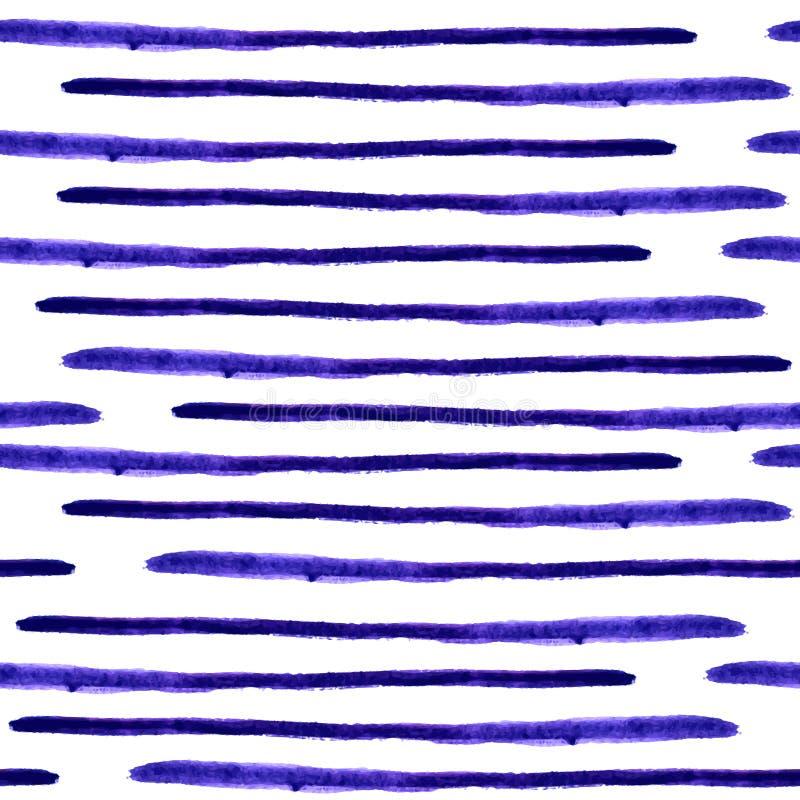 A aquarela sem emenda do vetor listra o teste padrão Linhas abstratas do grunge ilustração do vetor