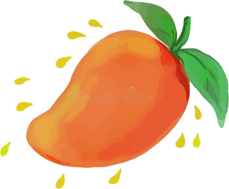 Aquarela suculenta do fruto da manga ilustração royalty free