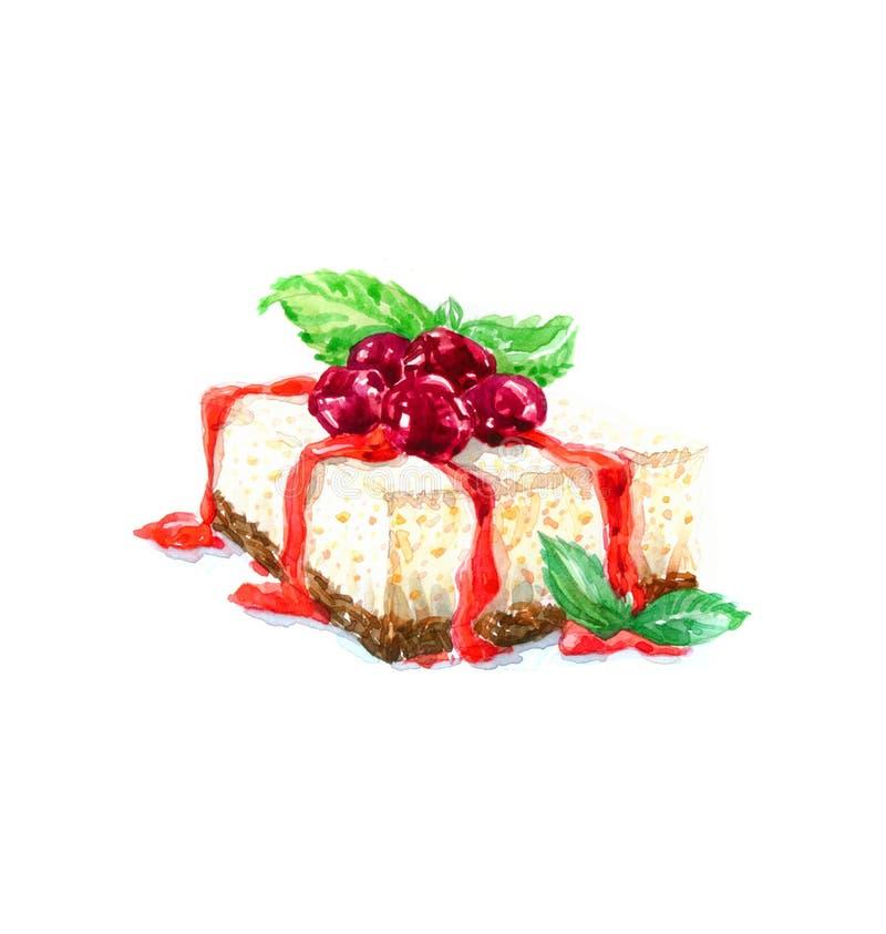 A aquarela triangular do bolo da sobremesa do bolo imagens de stock