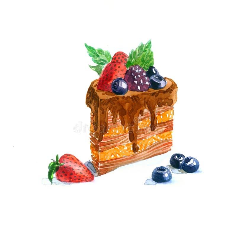 A aquarela triangular do bolo da sobremesa do bolo fotografia de stock