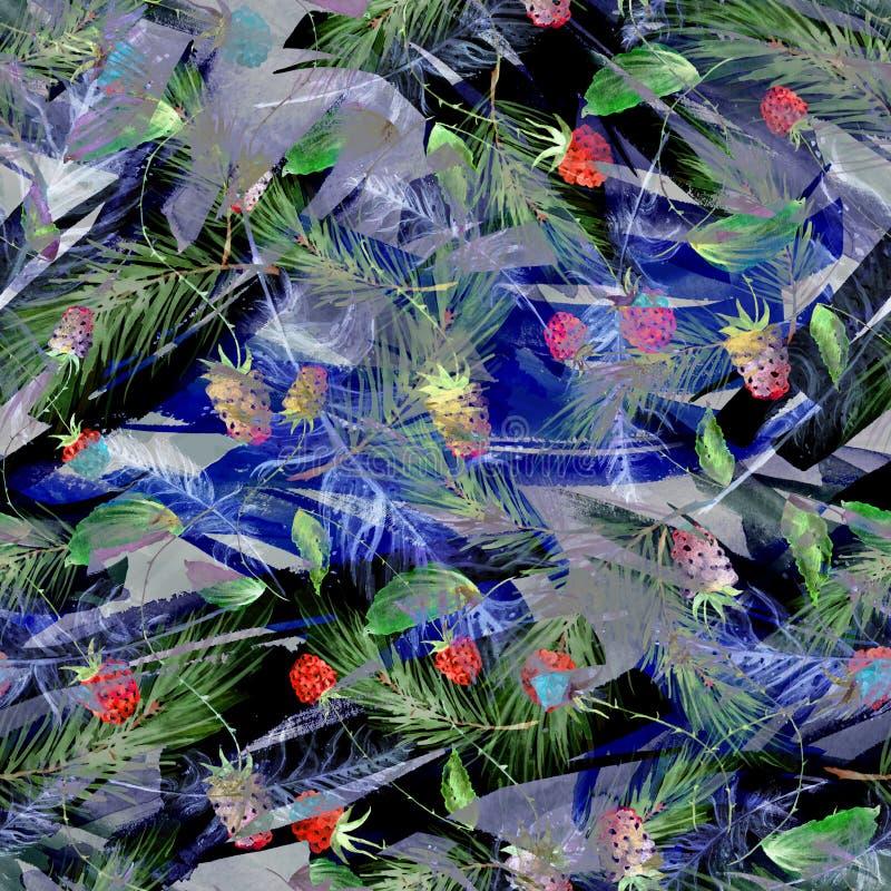 Aquarela, vintage, teste padrão sem emenda nas amoras-pretas, framboesas, ramos do pinho, abeto, agulhas Fundo sem emenda da aqua ilustração royalty free