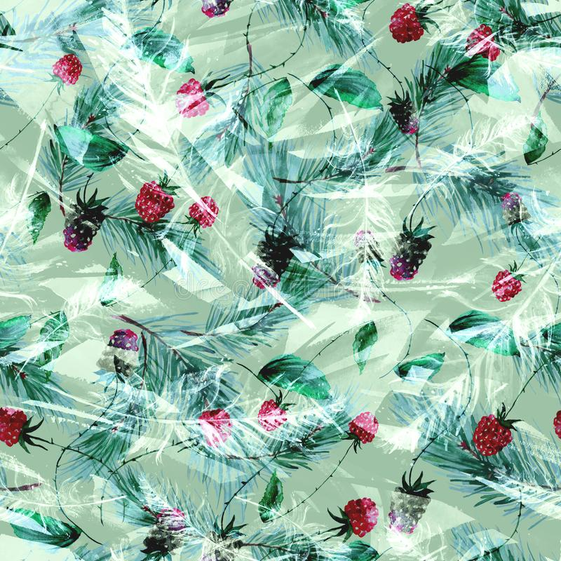 Aquarela, vintage, teste padrão sem emenda nas amoras-pretas, framboesas, ramos do pinho, abeto, agulhas Fundo sem emenda da aqua ilustração do vetor