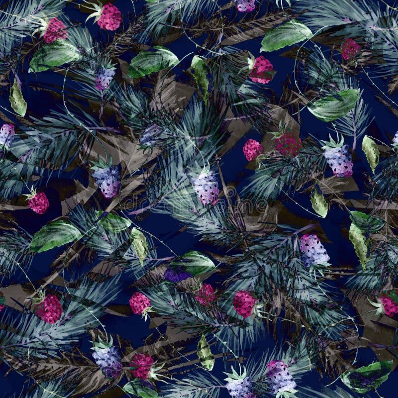 Aquarela, vintage, teste padrão sem emenda nas amoras-pretas, framboesas, ramos do pinho, abeto, agulhas Fundo sem emenda da aqua ilustração stock