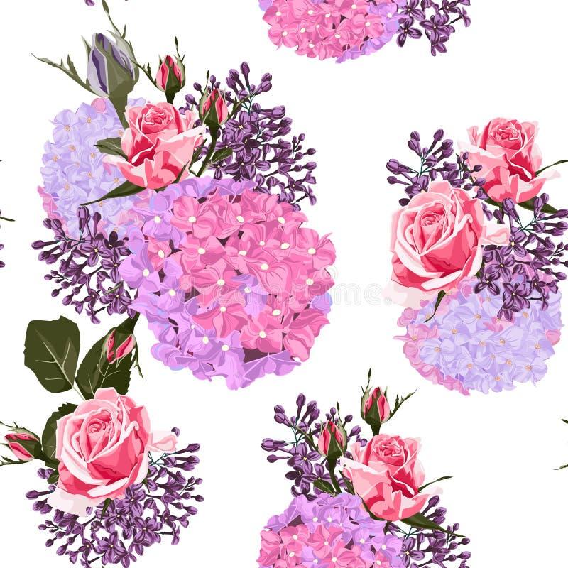 Aquarell-Artdesign des nahtlosen Mustervektors Blumen: weiße rosa Rosen des Gartenpulvers knospen, Hortensie und Flieder vektor abbildung