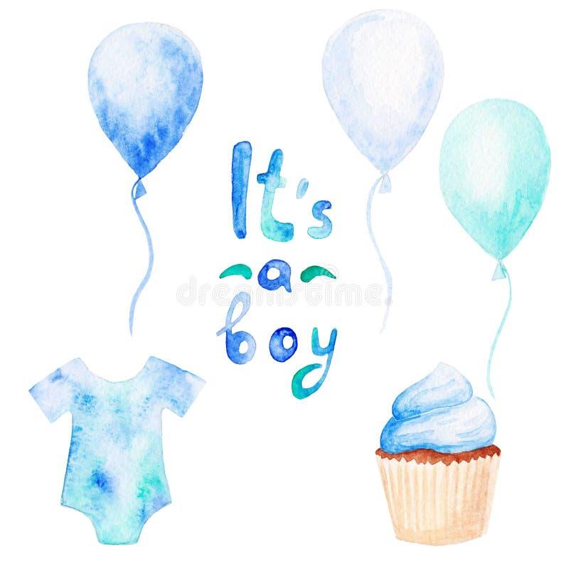 Aquarell-Babypartysatz Sein ein Jungenthema mit Ballonen, Babykleidung und kleinem Kuchen Für Design, Druck oder Hintergrund lizenzfreie abbildung
