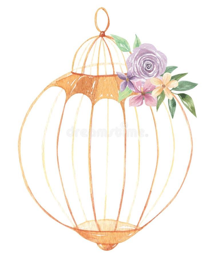 Aquarell Birdcage-Blumenstrauß blüht purpurrote Rosen-Blumenblumen-Beeren vektor abbildung
