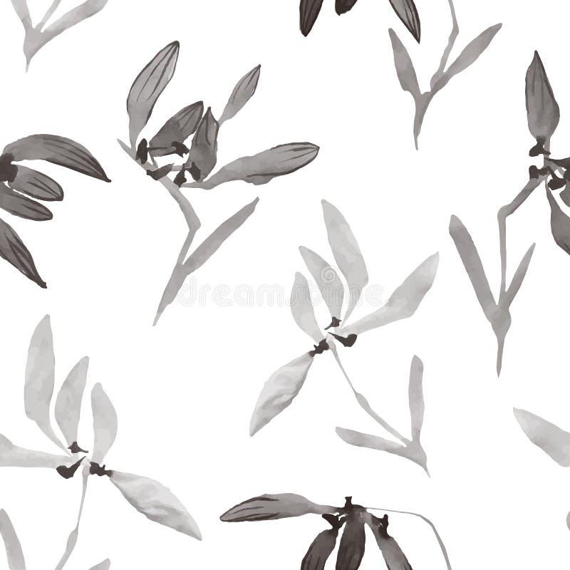 Aquarell blüht die Hand, die nahtloses Muster mit chinesischem AR zeichnet lizenzfreie abbildung