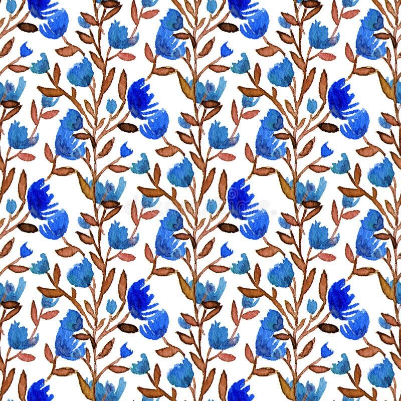 Aquarell blüht nahtloses Muster Böhmischer Hintergrund Kann für die Verpackung, Gewebe, Tapete verwendet werden lizenzfreie abbildung