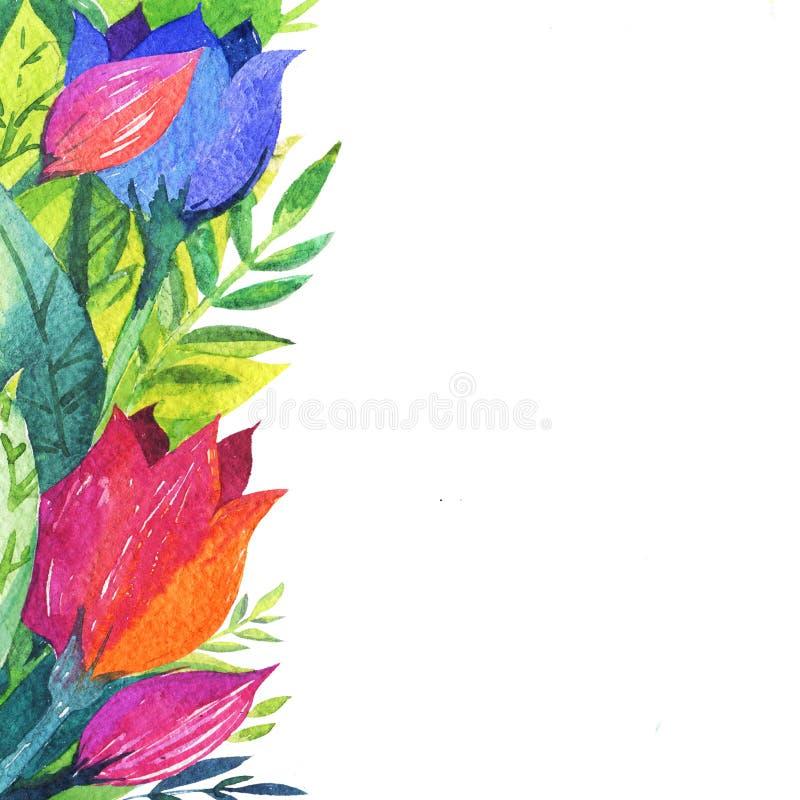 Aquarell blüht Rahmenschablone Blühender Blumenbrunch stock abbildung