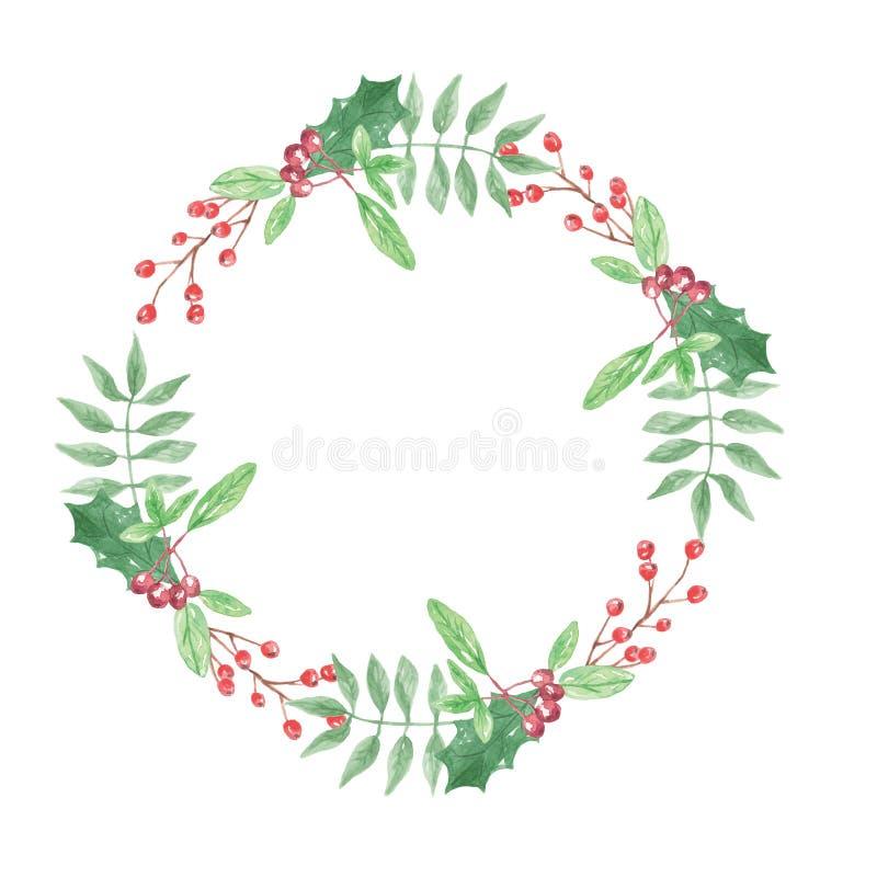 Aquarell-Blatt-Weihnachtsfeiertags-rote grüne Beeren-Kranz-Girlande stock abbildung