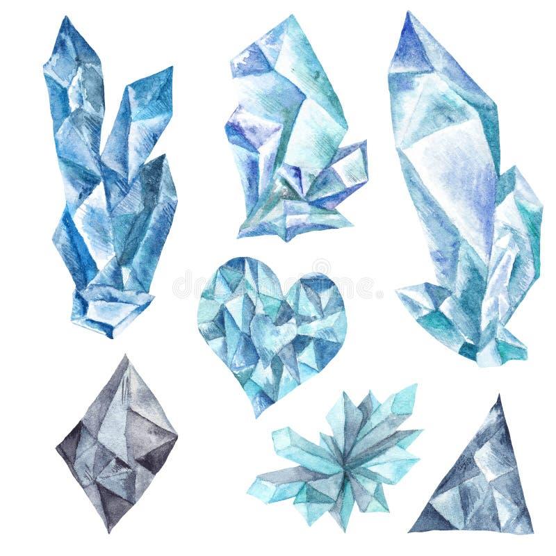 Aquarell-blaue Kristalle eingestellt lizenzfreie abbildung
