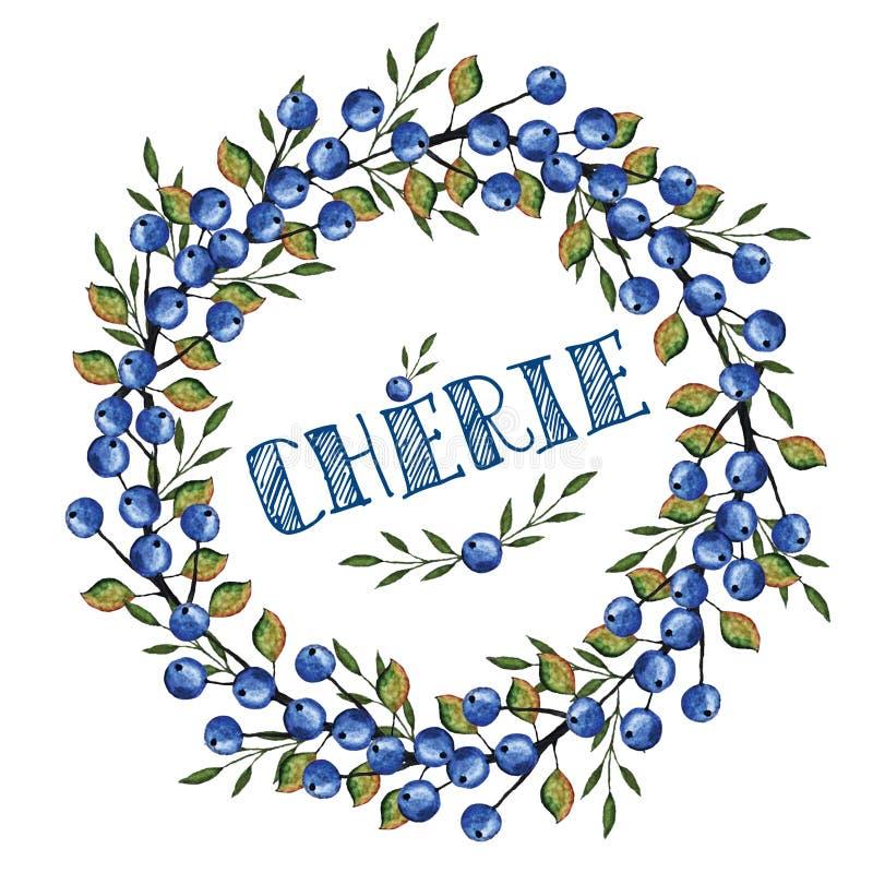 Aquarell blaues berrie, Niederlassungskranz Liebling auf französisch vektor abbildung