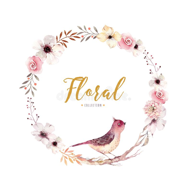 Aquarell Blumen-boho Blumenkranz Natürlicher Rahmen Des Watercolour ...