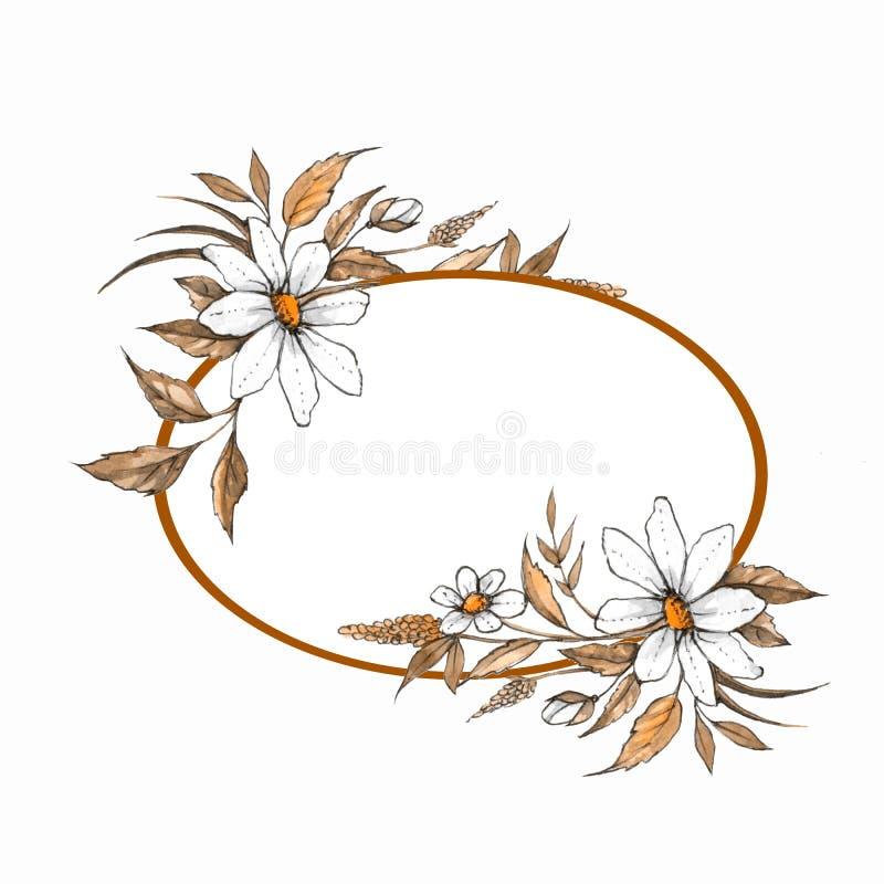 Aquarell Blumen-framewith Wildflowers 1 vektor abbildung