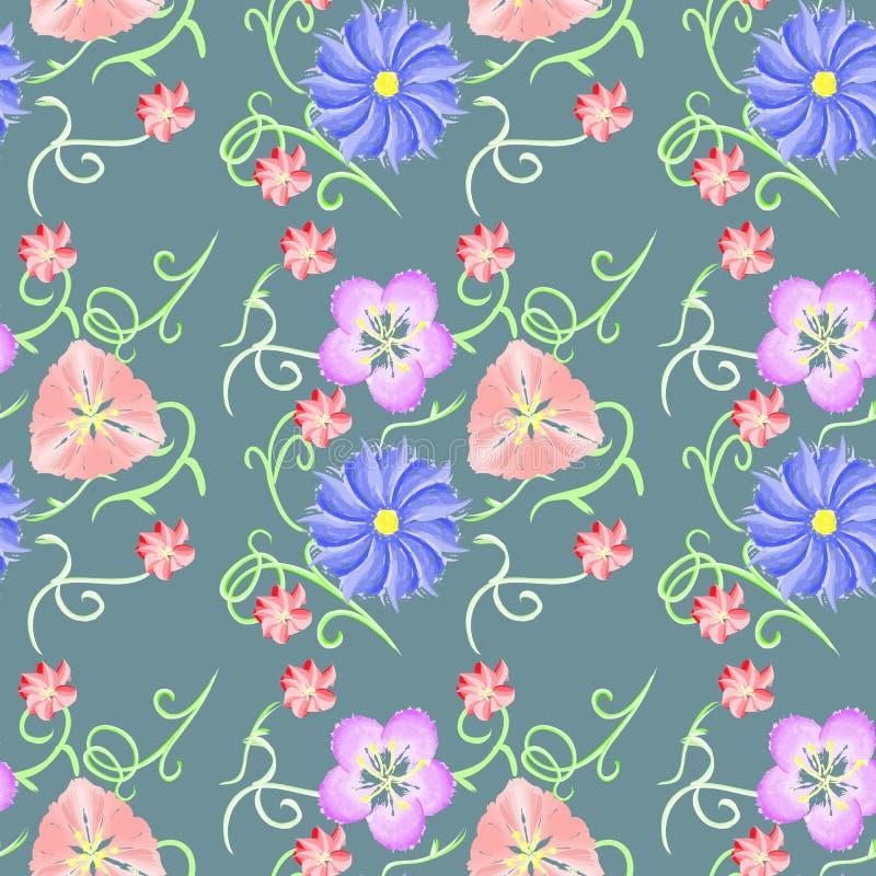 Aquarell, Blumenmuster für Gewebe stockbilder