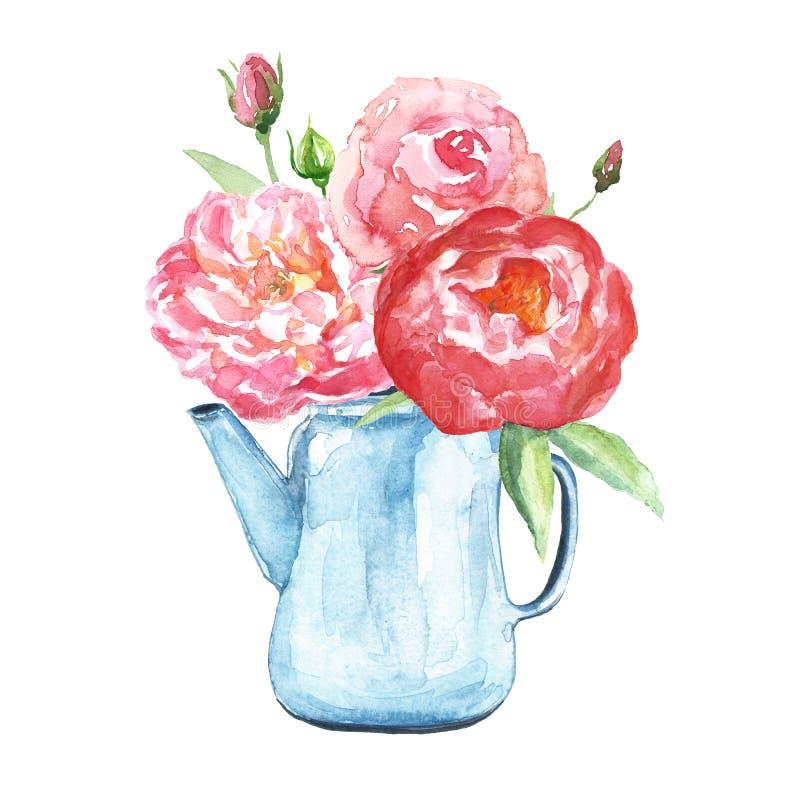 Aquarell-Blumenstraußillustration in der Weinleseart Die Blumen, die mit eingestellt werden, erröten rosa und korallenrote Pfings stockfoto