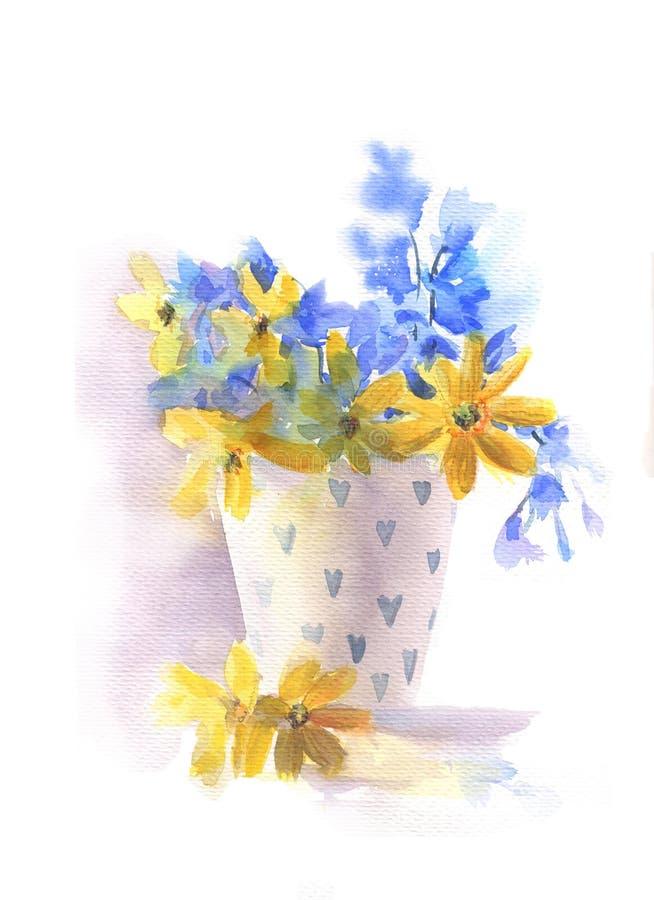 Aquarell-Blumenstrau? im Vase vektor abbildung