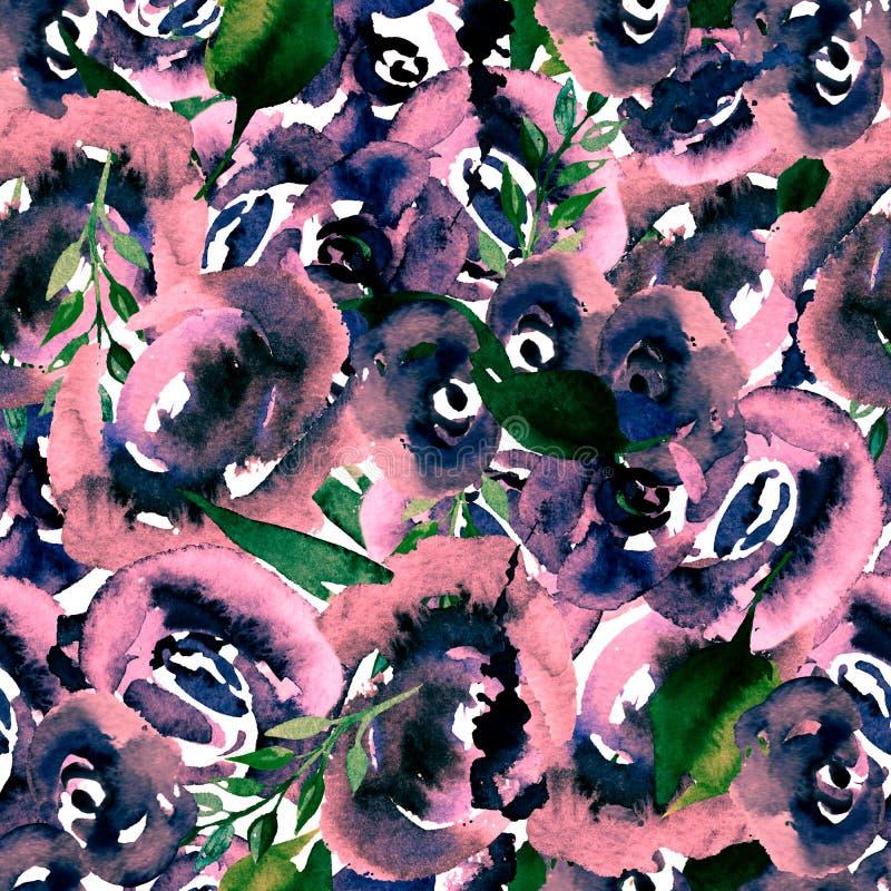 Aquarell-Blumenwiederholungs-Muster Als Druck für Gewebe, Hintergrund verwendet werden für kann die Heirat Einladung stock abbildung