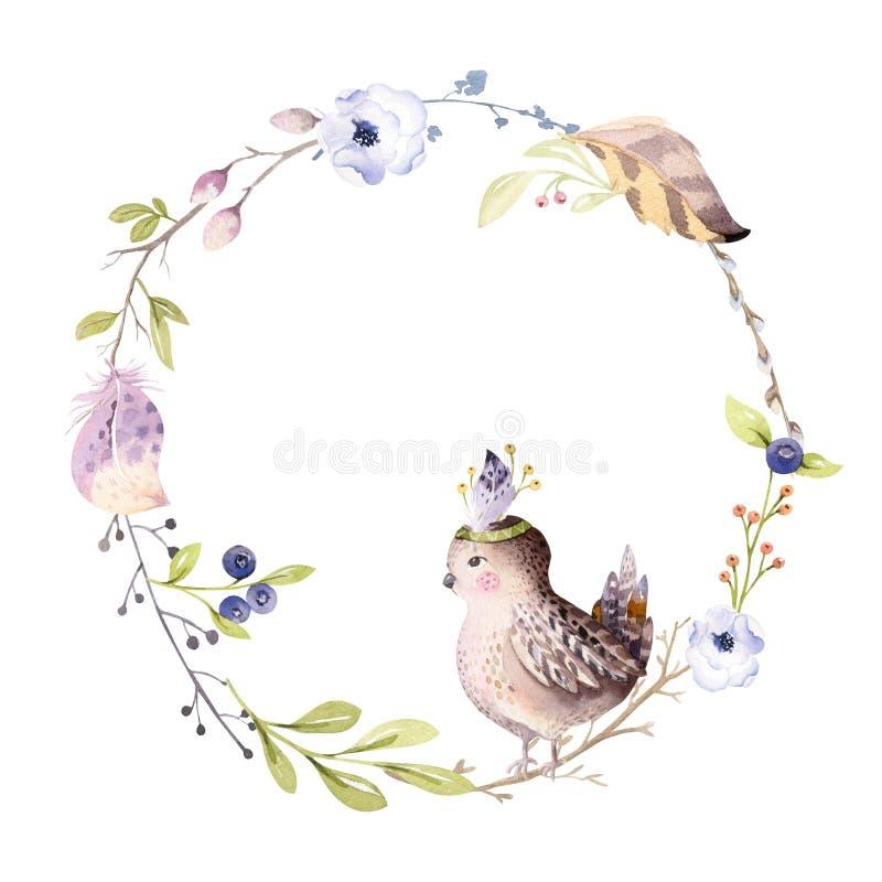Aquarell boho Blumenkranz Böhmischer natürlicher Rahmen: Blätter, Federn, Blumen, lokalisiert auf weißem Hintergrund künstlerisch stock abbildung