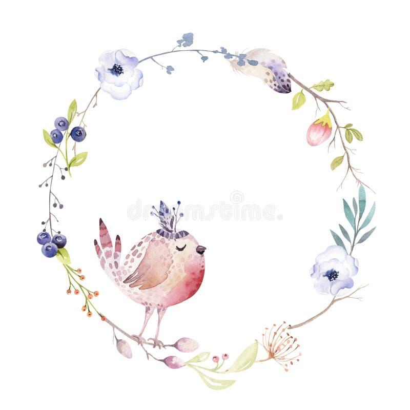 Aquarell boho Blumenkranz Böhmischer natürlicher Rahmen: Blätter, Federn, Blumen, lokalisiert auf weißem Hintergrund künstlerisch lizenzfreie abbildung