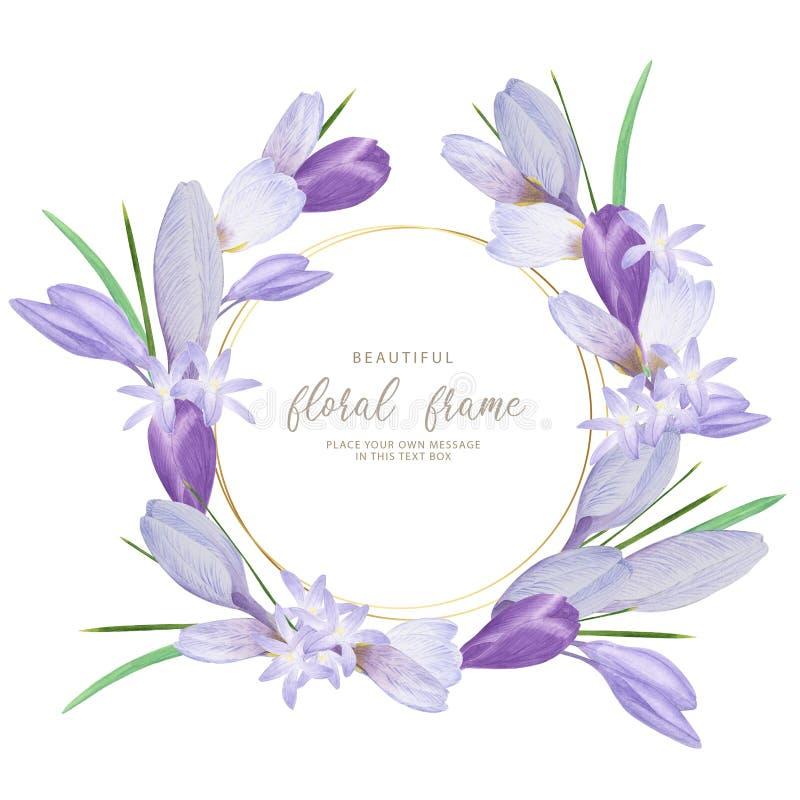 Aquarell Circlet von violetten Blumen Von der Blumenfeldserie stock abbildung