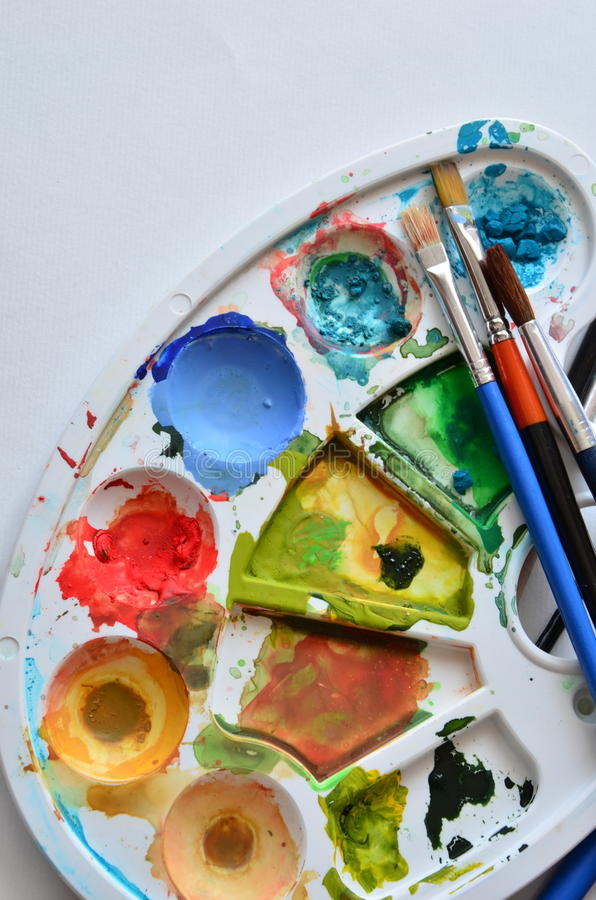Aquarell Colors in Palette. Palerte with set of colors and brushes stock photography