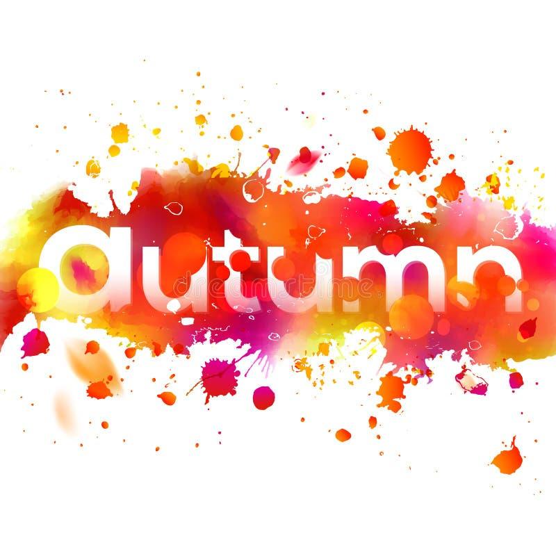 Aquarell, das orange Herbstband mit Typografie zeichnet lizenzfreie abbildung