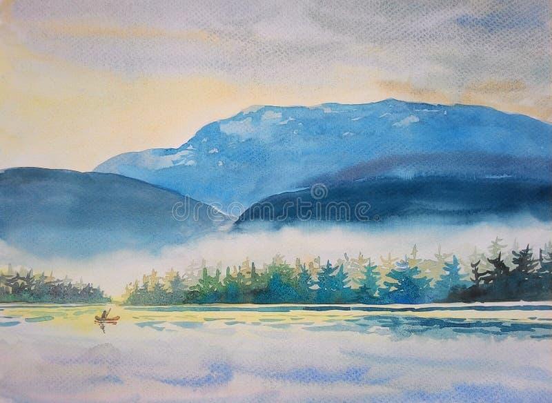 Aquarell, das ursprüngliche Landschaft bunt vom Bootfahrtmorgen malt vektor abbildung
