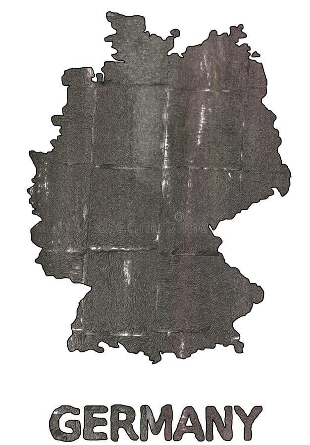 Aquarell der schwarzen Olive des Deutschland-Kartenentwurfs lizenzfreie abbildung