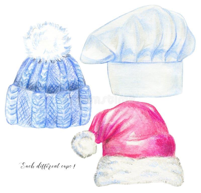 Aquarell eingestellt mit drei Arten Kopfbedeckung stock abbildung