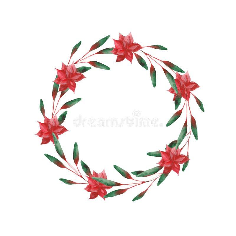 Aquarell eingestellt mit Weihnachtsblättern und -blumen vektor abbildung