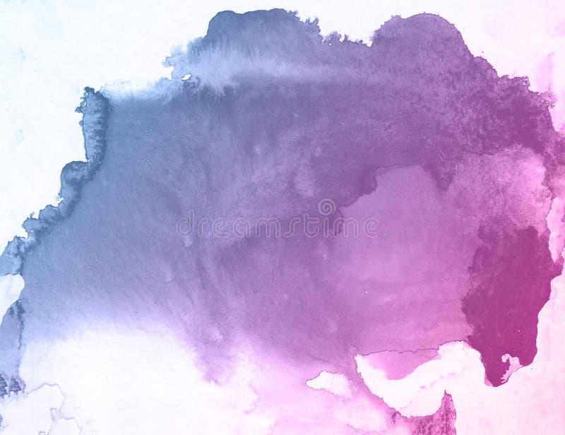 Aquarell-Farbenhintergrund der Blau- und Rosablume kreativer, Einklebebuchskizze beschriftend lizenzfreies stockfoto