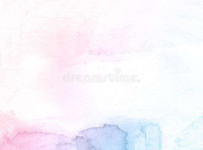 Aquarell-Farbenhintergrund der Blau- und Rosablume kreativer, Einklebebuchskizze beschriftend stockfotos
