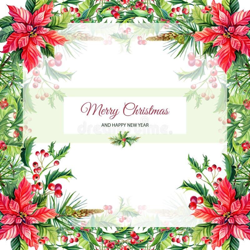 Aquarell-frohe Weihnachten und neues Jahr-Gruß-Karte mit roten Poinsettiablumen, Stechpalme stock abbildung