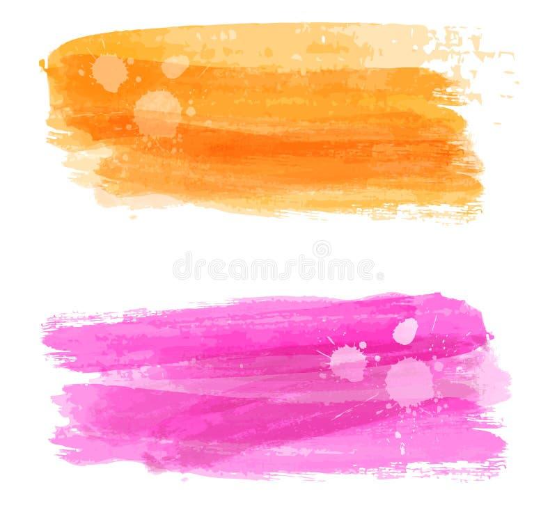 Aquarell gebürstete Fahnen lizenzfreie abbildung