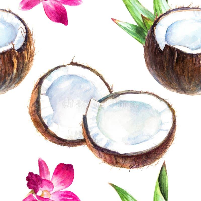 Aquarell-Gewebemuster des Kokosnusshandabgehobenen betrages nahtloses vektor abbildung