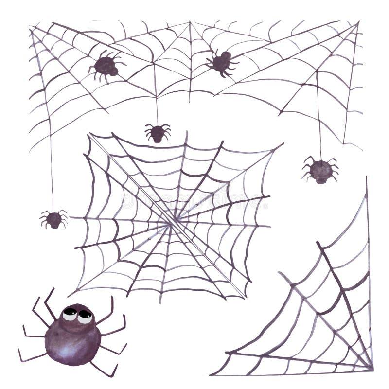 Aquarell Halloween eingestellt mit Spinnennetzen und -spinnen Ein Satz Einzelteile Getrennt auf wei?em Hintergrund Passend für Ei stock abbildung