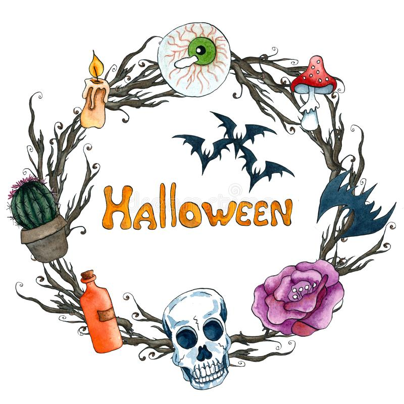 Aquarell-Halloween-Kranz Feld mit furchtsamer Elementkerze, Auge, Schläger, Scull, Gift, Kaktus, stieg stock abbildung