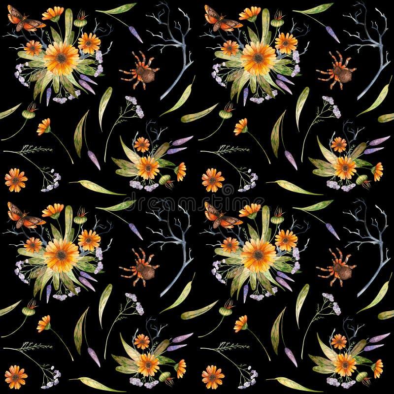 Aquarell-Halloween-Muster von Blumen und von Schmetterlingen lizenzfreie abbildung