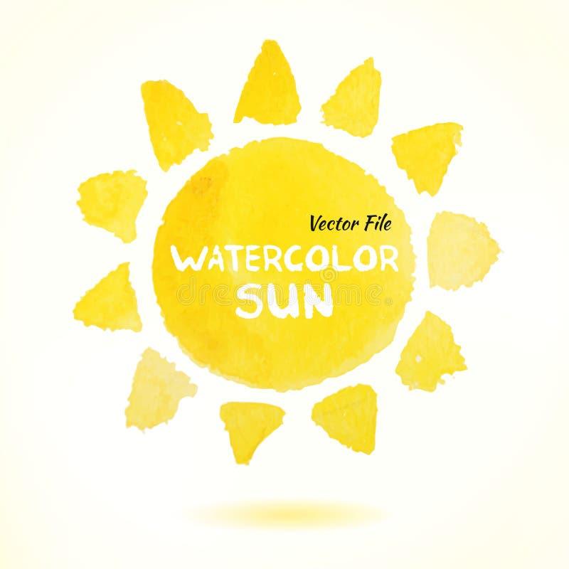 Aquarell-Hand gezeichneter Vektor Sun stock abbildung