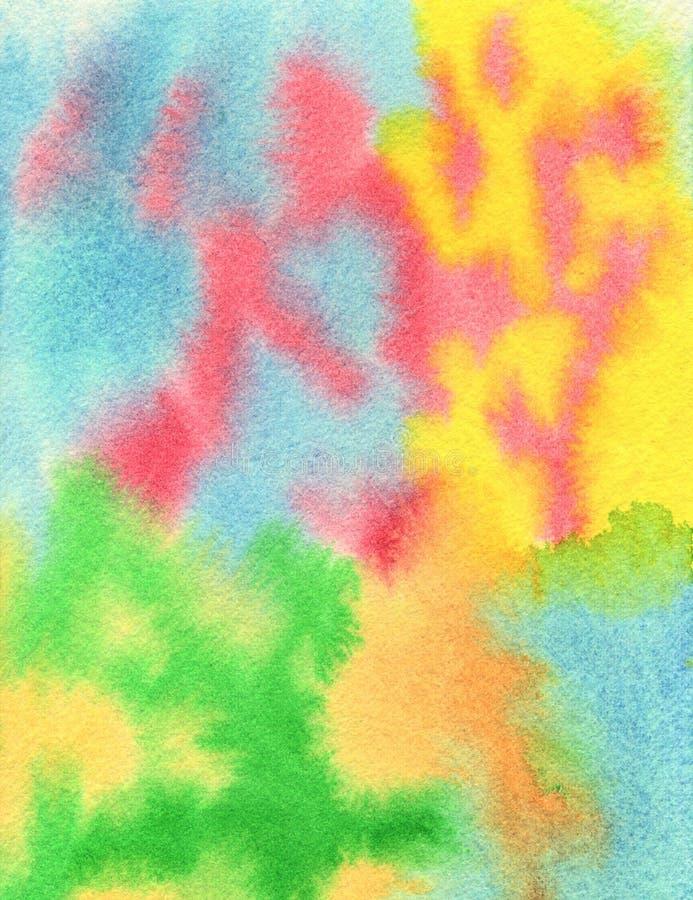 Aquarell-handgemalte abstrakte Regenbogen-Hintergrund-Beschaffenheit lizenzfreie stockbilder