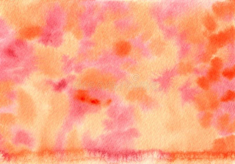 Aquarell-handgemalte orange und rosa Hintergrund-Beschaffenheit stockbilder