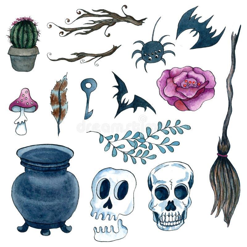 Aquarell-handgemalter Halloween-Satz Furchtsame Elemente Scull, Hexengroßer kessel, Schläger, Kaktus, Feder, Giftanlage, Rose, Sp stock abbildung